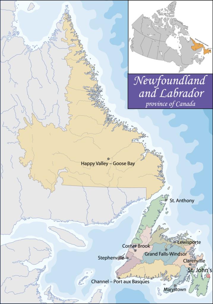 Bản đồ của Newfoundland và Labrador