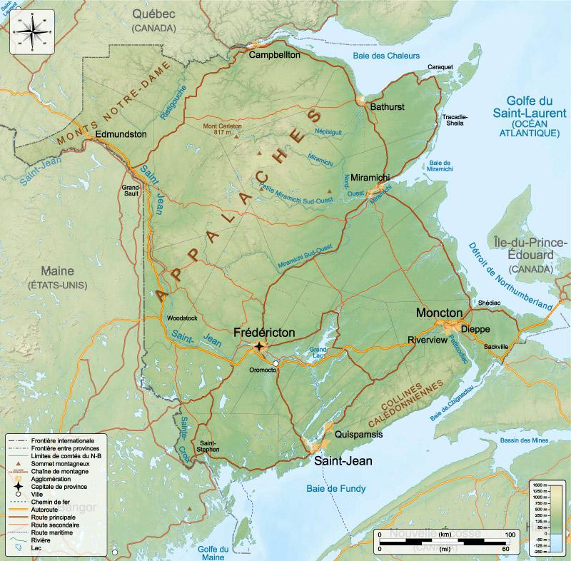 Canada Plaza Bản đồ địa hình của New brunswick 01