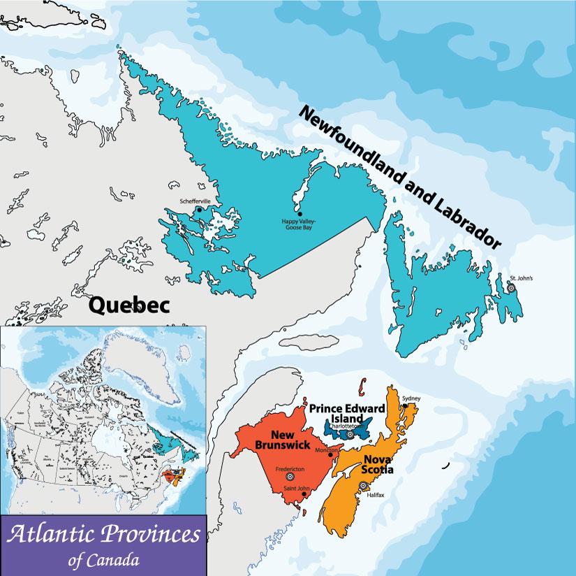 Bản đồ Atlantic - Đại Tây Dương Canada