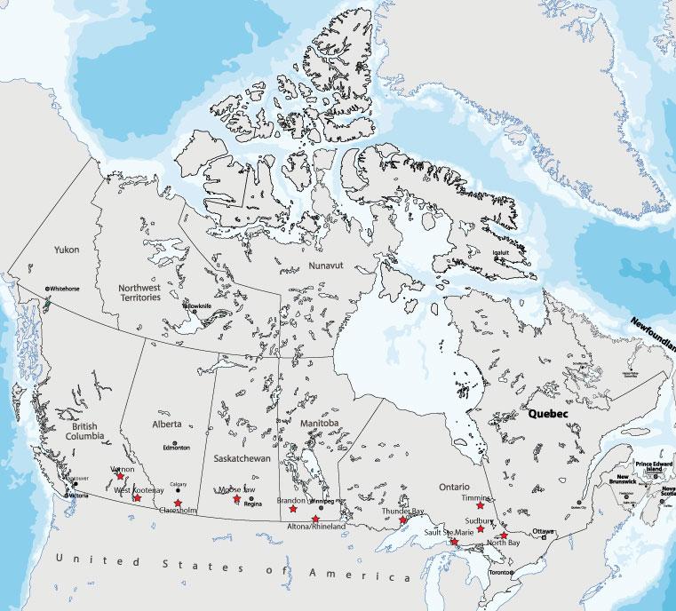 Bản đồ 11 cộng đồng RNIP