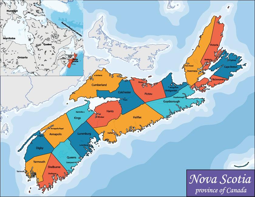 Bản đồ Nova Scotia