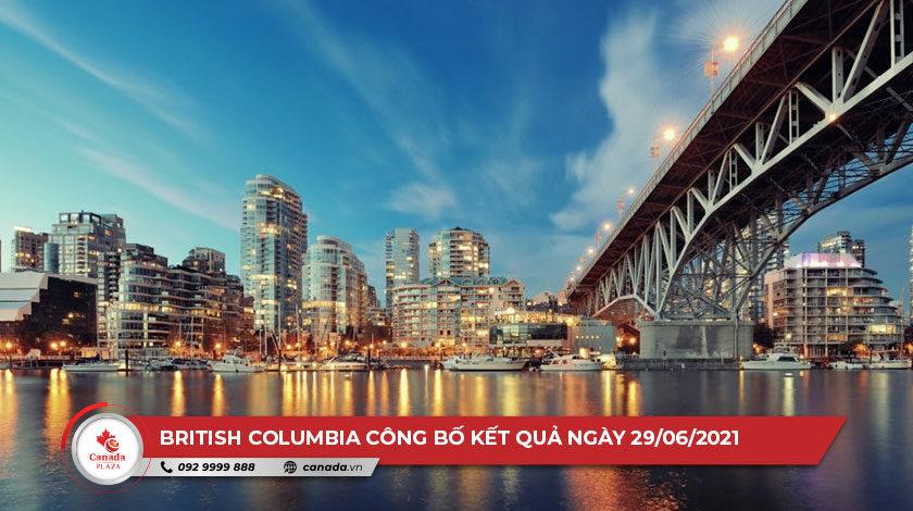 Chương trình đề cử tỉnh bang British Columbia (BC PNP) công bố kết quả ngày 29/6/2021
