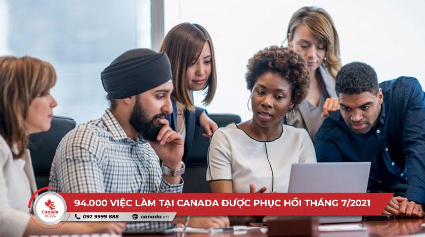94.000 việc làm tại Canada được phục hồi trong tháng 7/2021