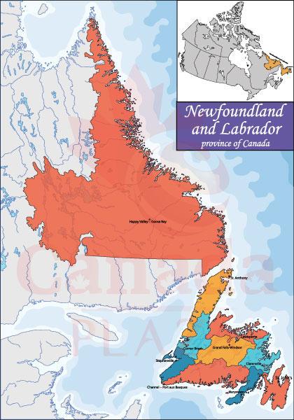 Bản đồ Newfoundland and Labrador