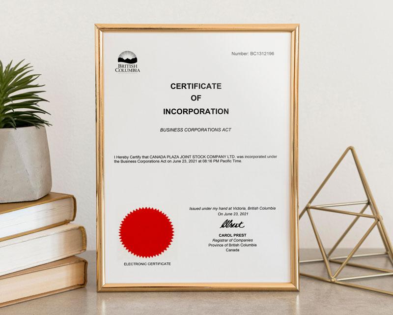 Giấy chứng nhận đăng ký kinh doanh tại British Columbia - Canada